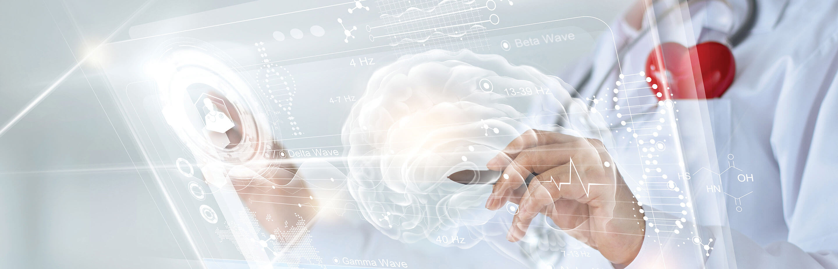 graphic illustration of a doctor pointing at a holographic image on the brain