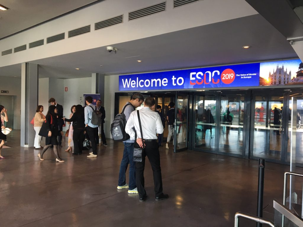 entrance to the convention centre in Milan with sign 'Welcome to ESOC2019'