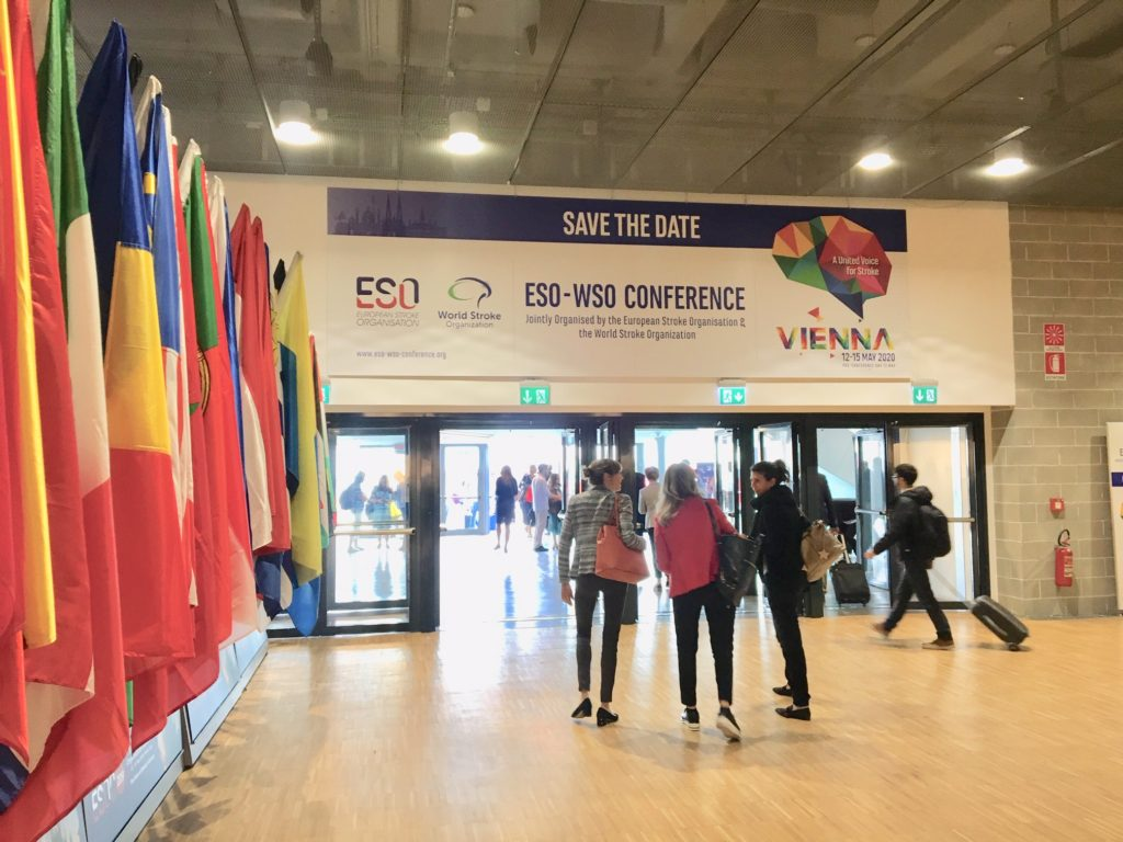 exit of convention centre in Milan with sign 'Save the Date ESO-WSO Conference, Vienna 12-15 May 2020'