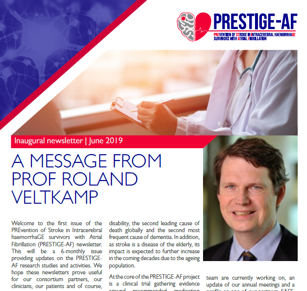 Image capture of the front page of the PRESTIGE-AF newsletter