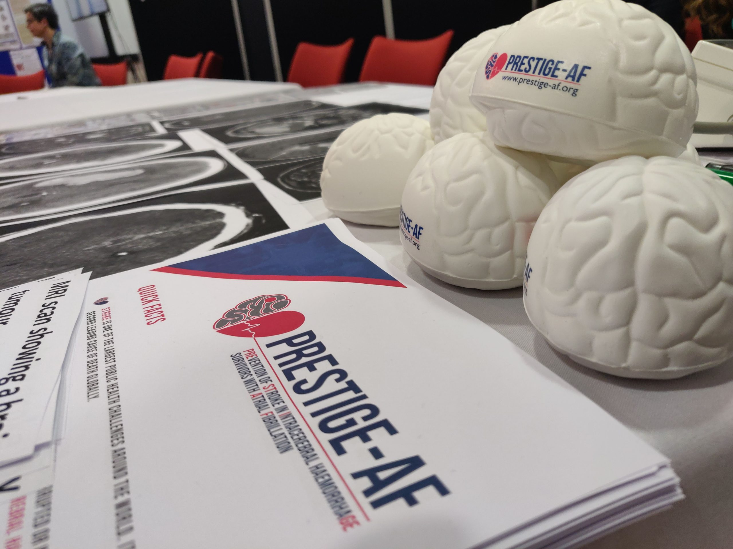 PRESTIGE-AF stress brains and information sheets on a table