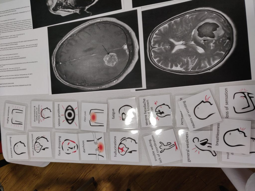 symptom cards of stroke on a table